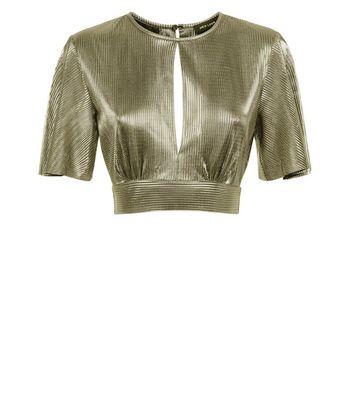 Gold Metallic Plisse Keyhole Crop Top New Look