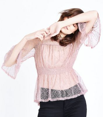 Lilac Lace Shirred Waist Frill Trim Top New Look