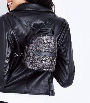 Black Glitter Micro Backpack New Look
