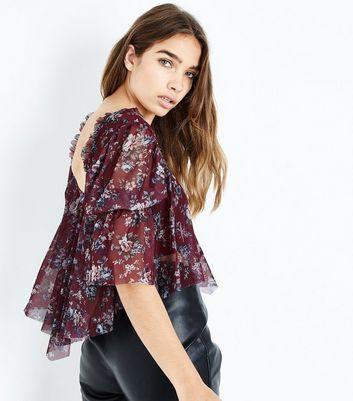 Purple Floral Mesh Shirred Sleeve Crop Top New Look