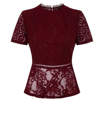 Burgundy Mixed Lace Peplum Hem Top New Look