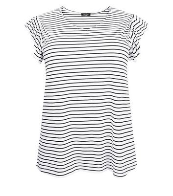 Curves White Stripe Frill Sleeve T-Shirt New Look