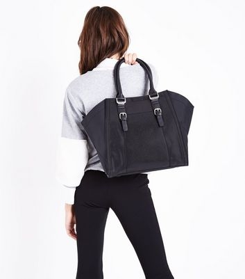 Black Double Buckle Front Tote Bag New Look