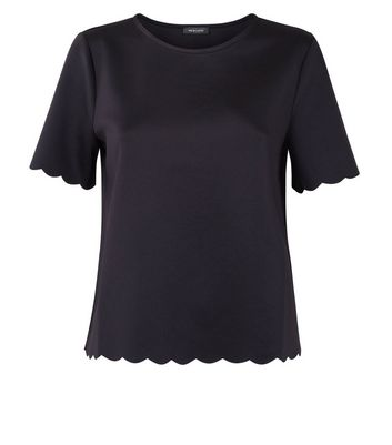 Black Scallop Hem T-Shirt New Look