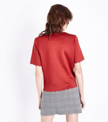 Rust Scallop Hem T-Shirt New Look