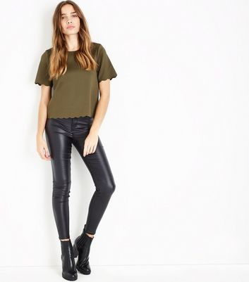 Khaki Scallop Hem T-Shirt New Look