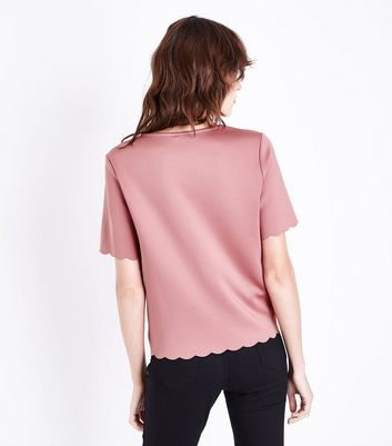 Pink Scallop Hem T-Shirt New Look