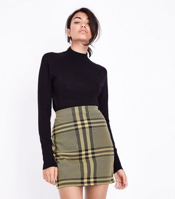 Yellow Wide Check Jersey Tube Skirt New Look
