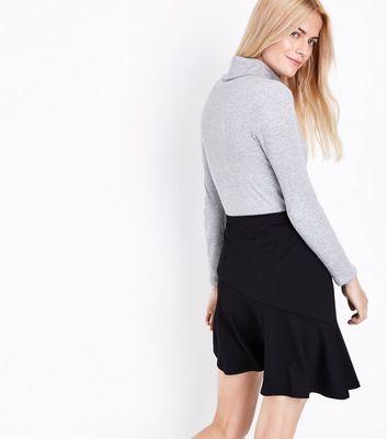 Black Asymmetric Stretch Mini Skirt New Look