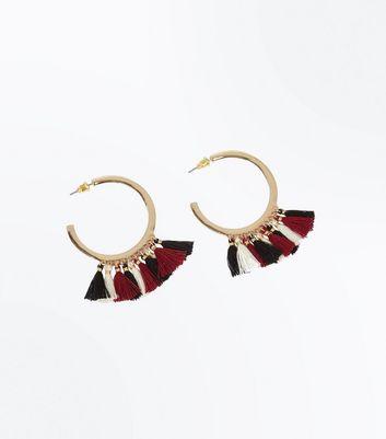 Gold Tassel Trim Hoop Earrings New Look