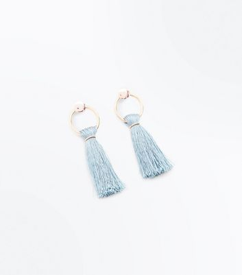 Teal Tassel Twist Hoop Earrings New Look