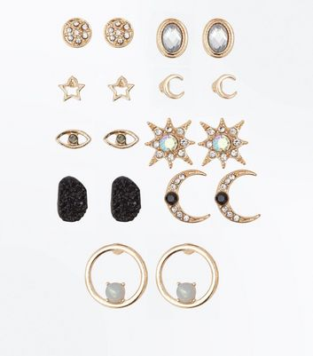 9 Pack Gold Gem Embellished Cosmic Studs New Look