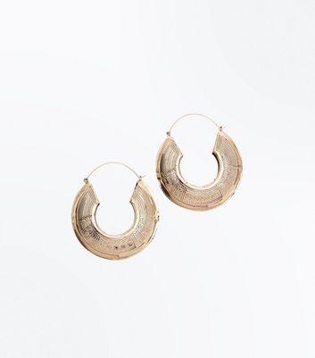 Gold Embossed Hoop Earrings New Look