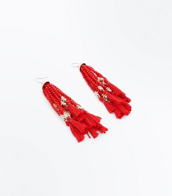 Red Beaded Tassel Drop Earrings New Look
