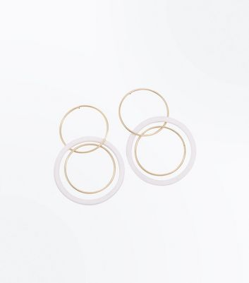 Gold Interlinking Hoop Stud Earrings New Look