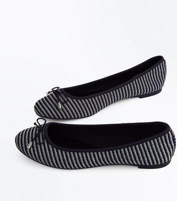 Black Glitter Stripe Ballet Pumps New Look
