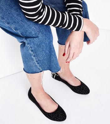 Black Suedette Stud Embroidered Pumps New Look