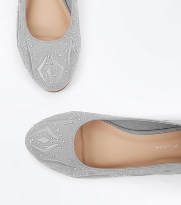 Grey Suedette Stud Embroidered Pumps New Look