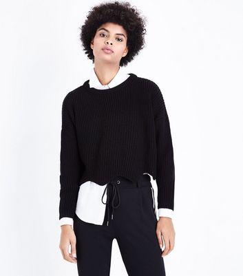 Black Scallop Hem Jumper New Look