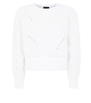 Cream Matte Chenille Pointelle Jumper New Look