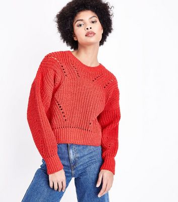 Red Matte Chenille Pointelle Jumper New Look