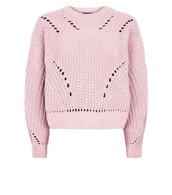 Pink Matte Chenille Pointelle Jumper New Look