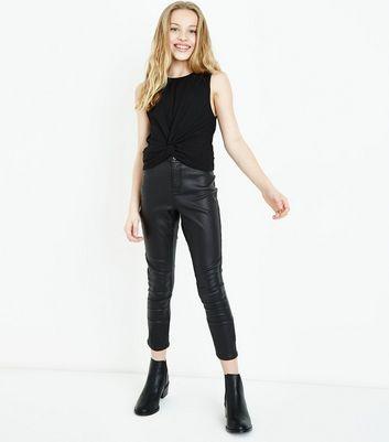 Teens Black Twist Front Vest Top New Look