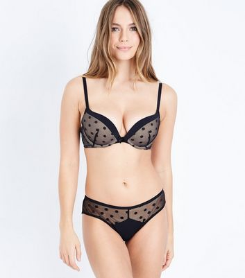 Black Spot Mesh Bra New Look