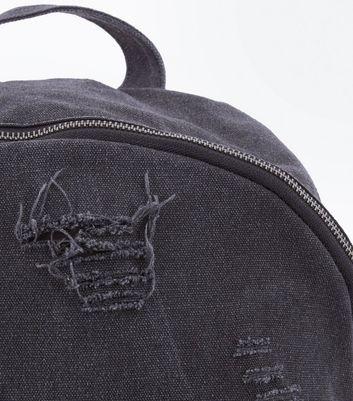 Dark Grey Distressed Backpack New Look
