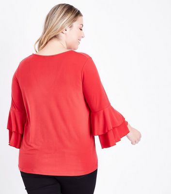 Curves Red Tiered Bell Sleeve Top New Look