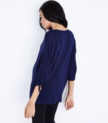 Maternity Navy Ruched Sleeve Fine Knit Top New Look