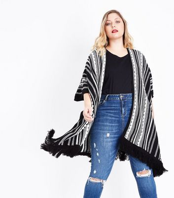 Curves Black Stripe Fringe Hem Blanket Cardigan New Look