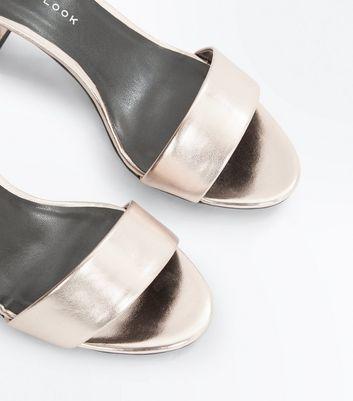Teens Rose Gold Metallic Block Heel Sandals New Look