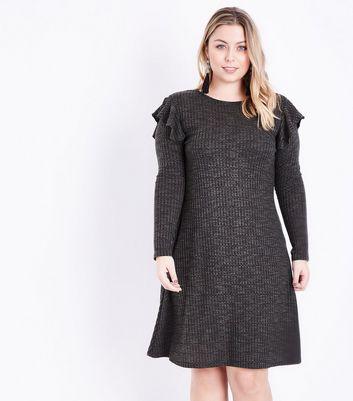 Curves Khaki Frill Trim Fine Knit Swing Dress New Look