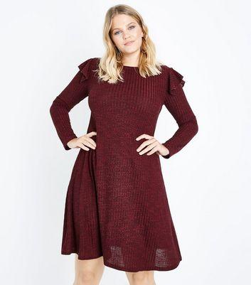 Curves Burgundy Frill Trim Fine Knit Swing Dress New Look