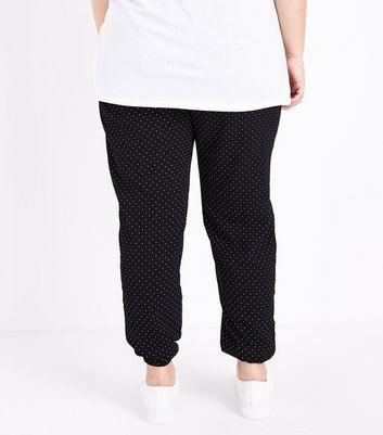 Curves Black Polka Dot Joggers New Look