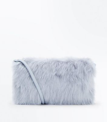 Pale Grey Faux Fur Cross Body Bag New Look