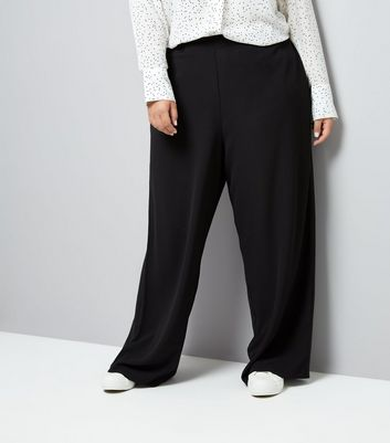 Curves Black Wide Leg Trousers New Look