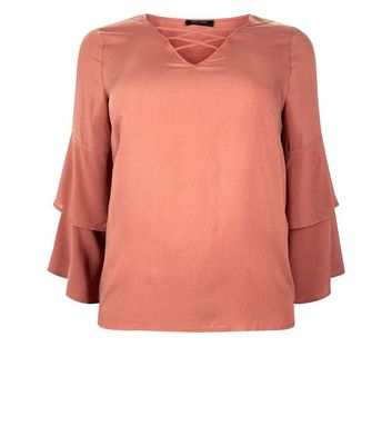 Curves Rust Lattice Front Tiered Sleeve Top New Look