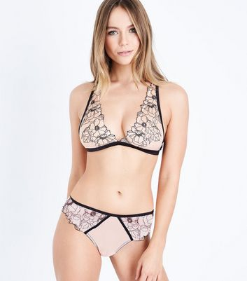Cream Embroidered Bralet New Look
