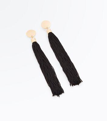 Black Disc Tassel Earrings New Look