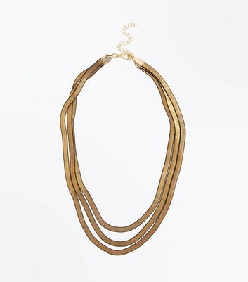 Gold Layered Slinky Chain Necklace New Look