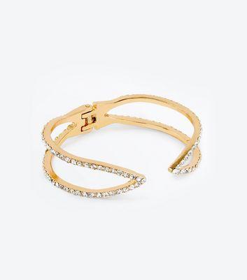 Gold Diamante Open Cuff Bangle New Look
