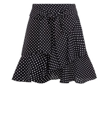 Teens Black Polka Dot Frill Hem Skirt New Look