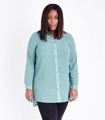 Curves Pale Blue Chiffon Longline Shirt New Look