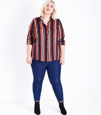 Curves Black Contrast Stripe Shirt New Look