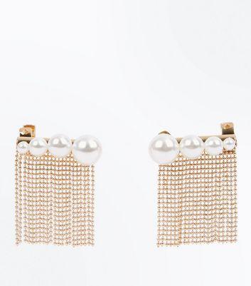 Gold Chain Tassel Pearl Embellished Earcuffs New Look