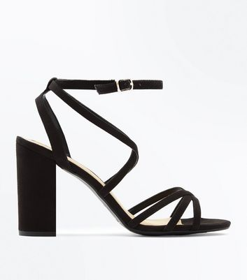 Wide Fit Black Suedette Strappy Block Heels New Look