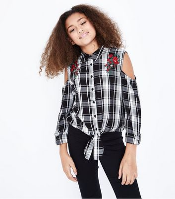Teens Black Check Embroidered Tie Front Shirt New Look