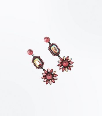 Deep Pink Flower Chandelier Earrings New Look